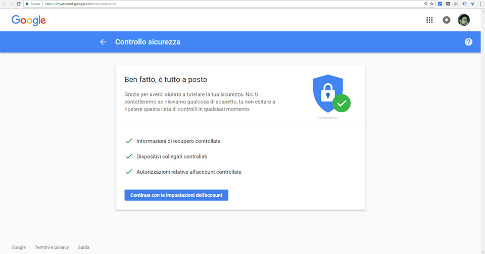sicureezza account dopo tentativo di phishing